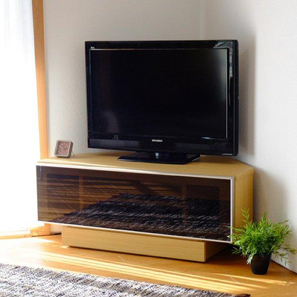 【送料無料】ブラックガラスを使用したコンパクトなコーナーテレビ台 幅100
