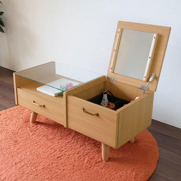 【送料無料】ドレッサー付きセンターテーブル ナチュラル 幅90cm