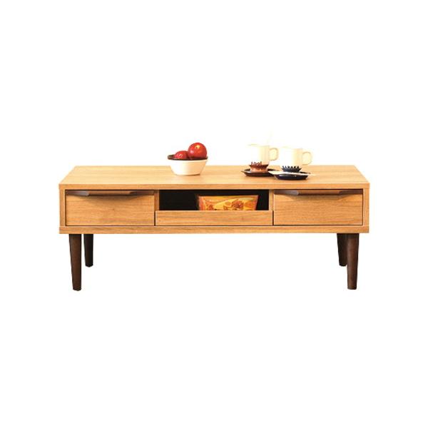 【送料無料】北欧風リビングテーブル ナチュラルとブラウンのツートンカラー 幅105