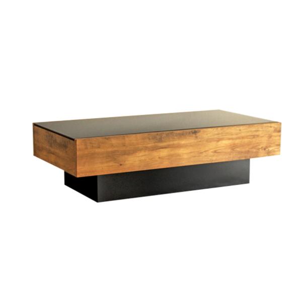 【送料無料】カフェ風センターテーブル かっこいいブラックガラス天板 幅105