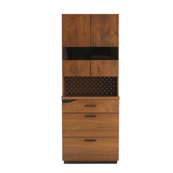 【送料無料】カフェ風食器棚 アルダー無垢 ブラウンとブラック 幅70