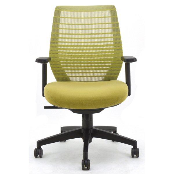 【送料無料】さわやかなカラーリングのオフィスチェア肘付き ブラック オレンジ グリーン