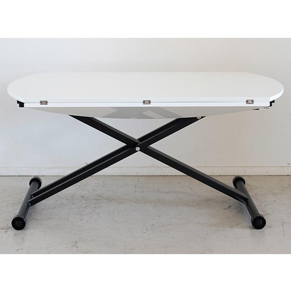 【送料無料】 アイル カジュアルでモダンな昇降式ダイニングテーブル ホワイト 120