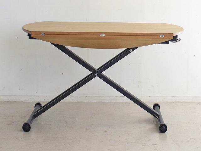 【送料無料】モダン 昇降カフェテーブルAL 幅120 ナチュラル