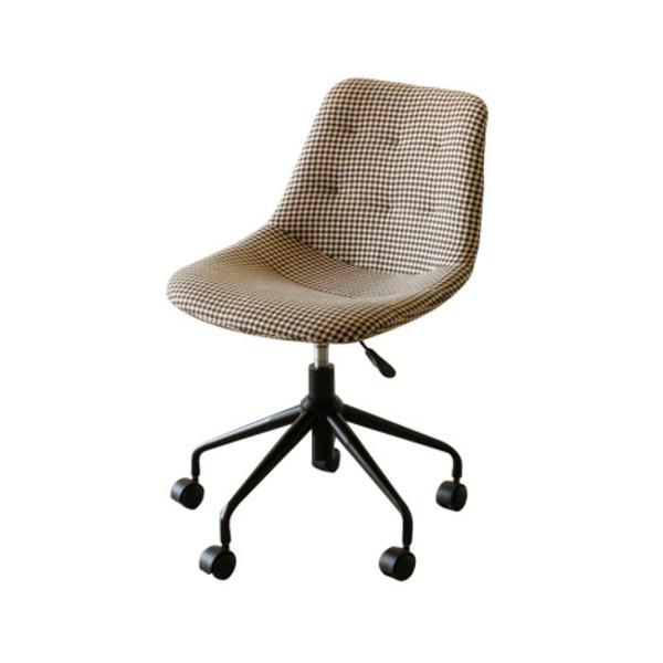 【送料無料】カフェ風千鳥格子のオフィスチェア 布製座面 キャスター脚