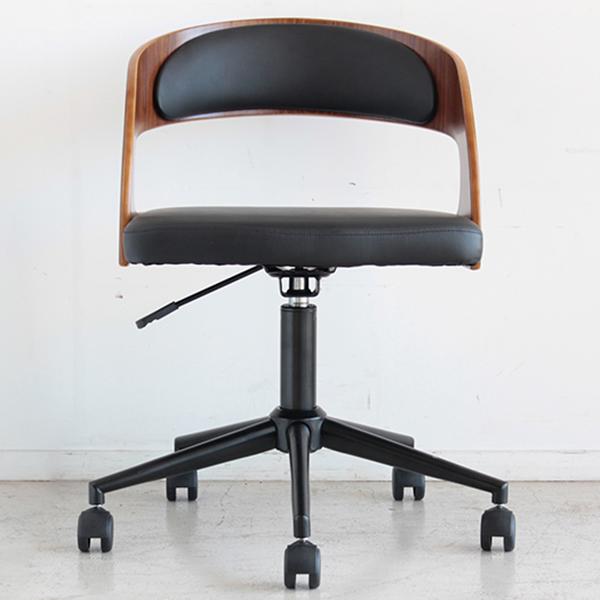【送料無料】曲木×黒スチール シックでおしゃれなオフィスチェア モダン ブラウン