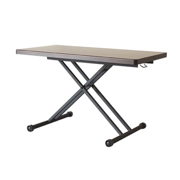 【送料無料】カフェ風昇降テーブル アルダー無垢のブラウンカラー 幅120