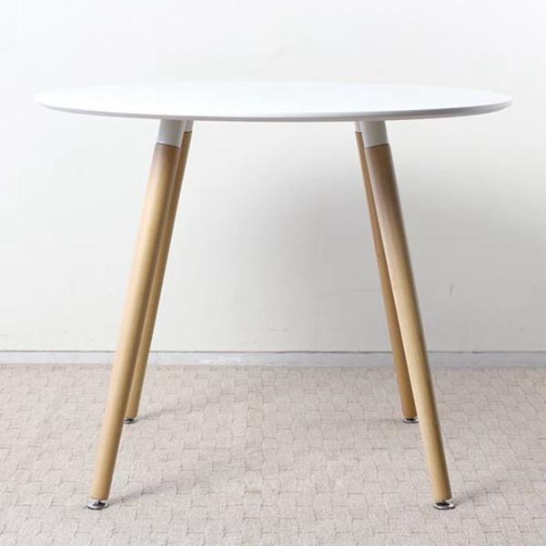 【送料無料】 デザイナーズ風 ラウンドダイニングテーブル 幅90 ブラック ホワイト