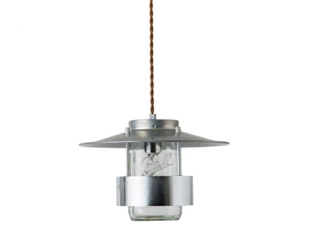 【キャニスターランプ2】アルミシェードとメイソンジャーを組み合わせたおしゃれな照明です