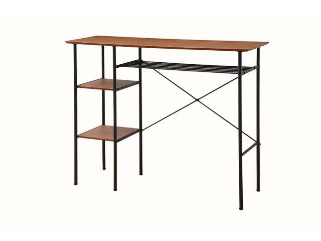 【送料無料】 スチールとアイアンのバーテーブル ウォールナットのカフェ風インテリア