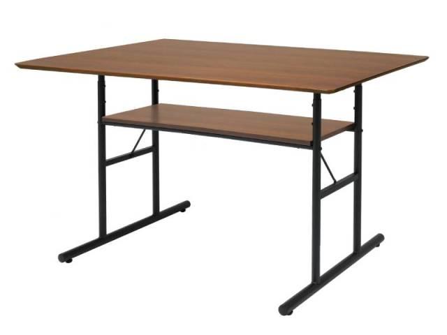 【送料無料】インダストリアルデザイン 高さ調整ダイニングテーブルAN 幅120 ブラウン