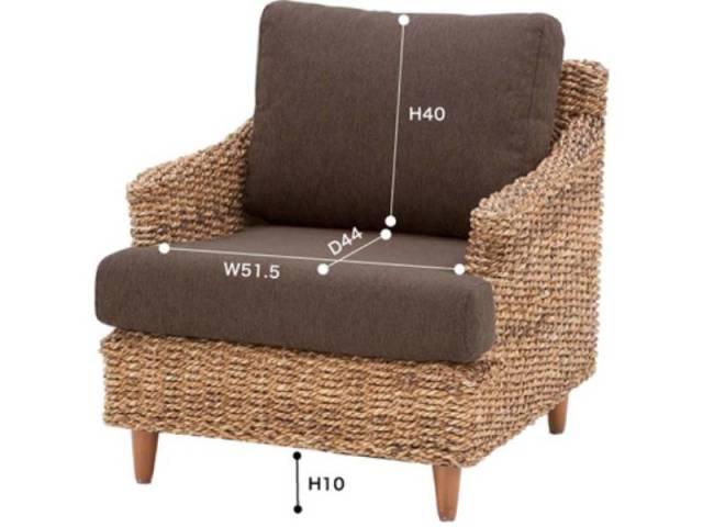 【送料無料】アジアンデザインのソファ 1人掛け NR5 ブラウン