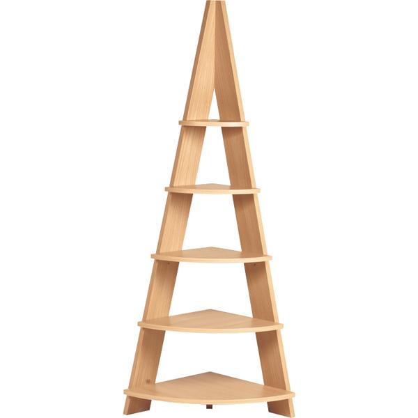 【送料無料】モダンなコーナーラック 幅57 木製 ナチュラル お部屋の角収納