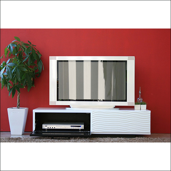 【送料無料】完成品 モダンなデザインのテレビ台 120 ホワイト
