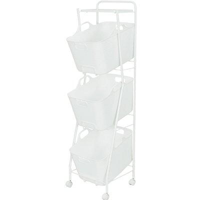 【送料無料】 日本製デザイナーズ家具 パイプで作ったランドリーバスケット 3段タイプ ブラウンとホワイト