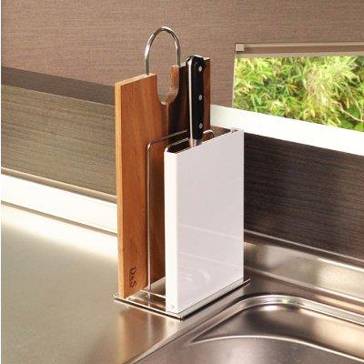 【送料無料】 日本製デザイナーズ家具 シンプルでスタイリッシュなキッチン収納 まな板包丁スタンド ステンレスとホワイト