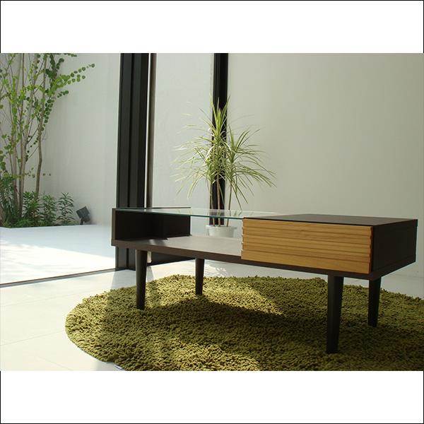 【送料無料】日本製 ガラス天板が便利なリビングテーブル