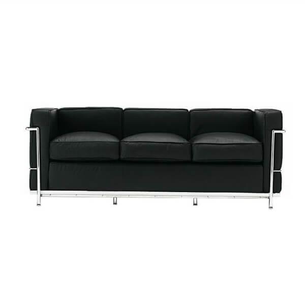 【送料無料】コルビジェ ソファ(Le Corbusier)【LC2】リプロダクトデザイナーズ家具 3人掛け ブラック