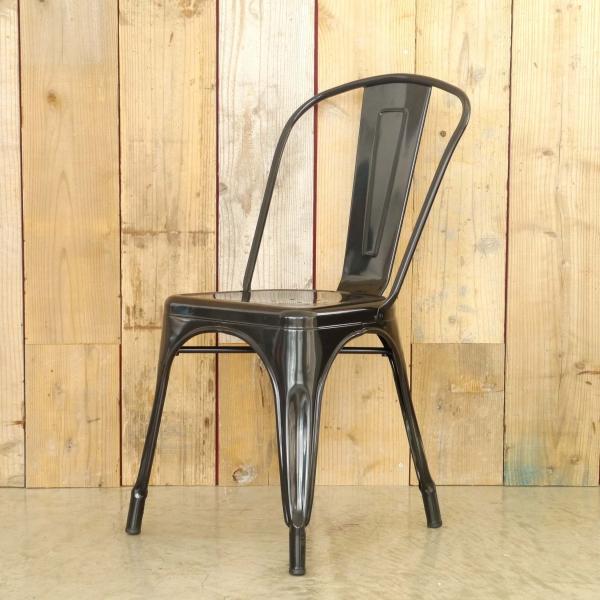 【送料無料】飲食店に最適 カフェ風デザインのスチール製のオシャレなチェア ブラック