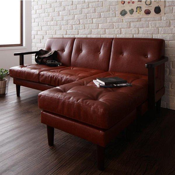 【送料無料】 ヴィンテージなデザインの木枠カウチソファ