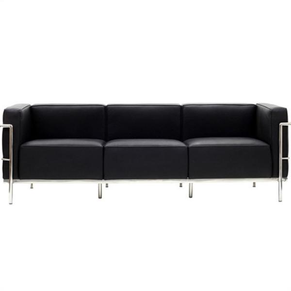 【送料無料】 コルビジェ ソファ (Le Corbusier)【LC3】 リプロダクト デザイナーズ家具 3人掛け ブラック