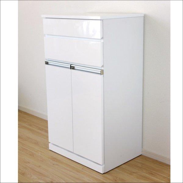 【送料無料】 完成品 エナメル鏡面塗装 ダストボックス 2分別のごみ箱(ホワイト)