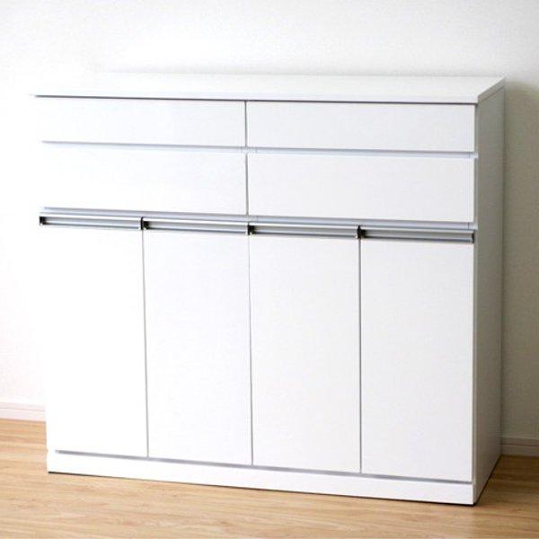 【送料無料】 完成品 スタイリッシュなエナメル鏡面塗装 ダストボックス4分別のごみ箱(ホワイト)