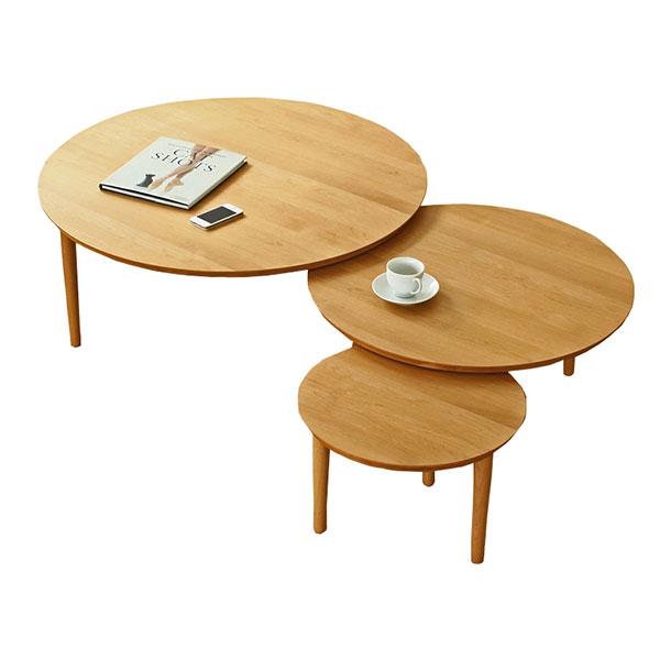【送料無料】 大川家具 北欧デザイン バルーン90-3枚テーブル アルダー天板