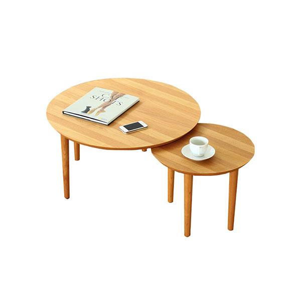 【送料無料】 大川家具 北欧デザイン バルーン69-2枚テーブル アルダー天板