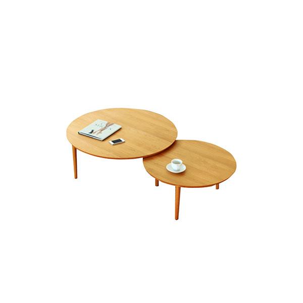 【送料無料】 大川家具 北欧デザイン バルーン90-2枚テーブル アルダー天板
