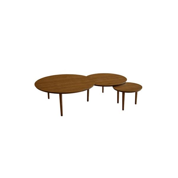 【送料無料】 大川家具 北欧デザイン バルーン90-3枚テーブル ウォールナット