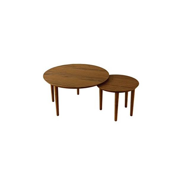 【送料無料】 高級家具 北欧デザインのリビングテーブル 可動式 ウォールナット天板 小2枚タイプ