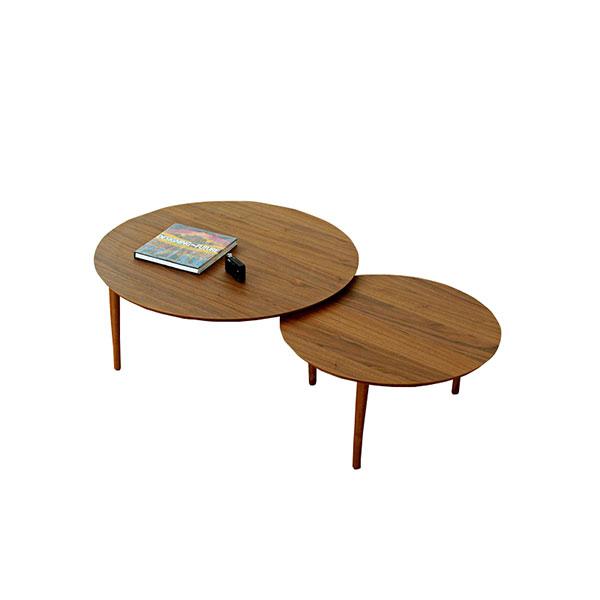 【送料無料】 大川家具 北欧デザイン バルーン90-2枚テーブル ウォールナット