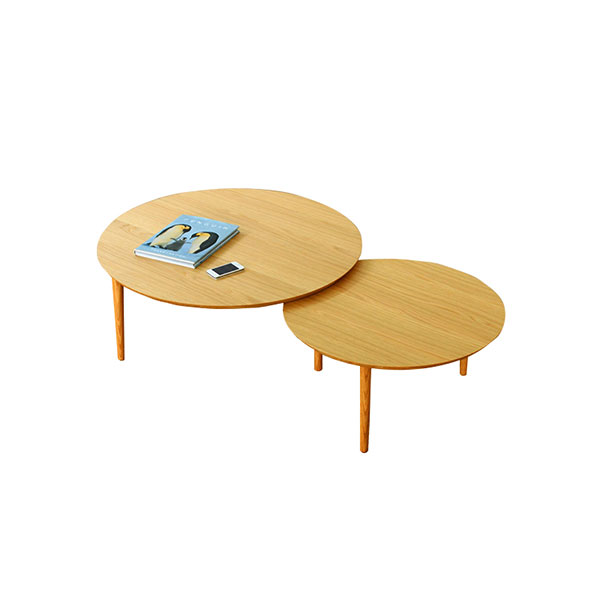 【送料無料】 大川家具 北欧デザイン バルーン90-2枚テーブル ホワイトオーク