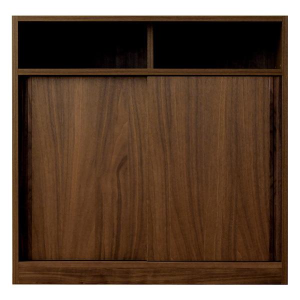 店舗でも使えるカウンター収納 スライド扉部分 モダンなウォールナットブラウン 幅90
