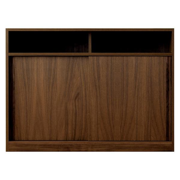 店舗でも使えるカウンター収納 スライド扉部分 モダンなウォールナットブラウン 幅120