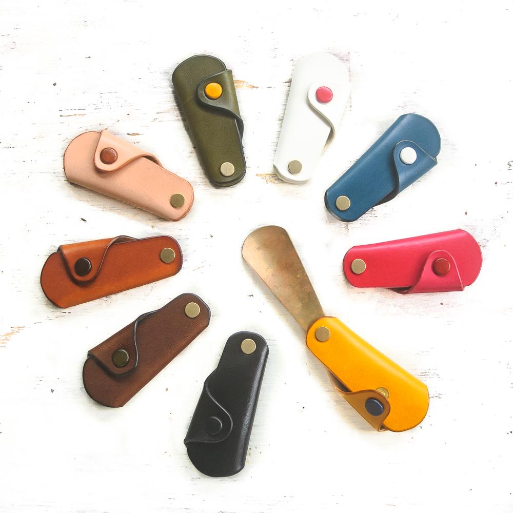 ブラスシューホーンキーケース 真鍮靴ベラキーホルダー