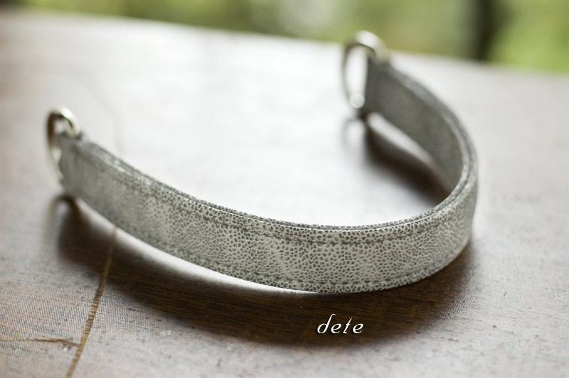 〔オーダーメイドギャラリー〕犬の首輪 ハーフチョーク 内寸24.5cm 象革手縫い