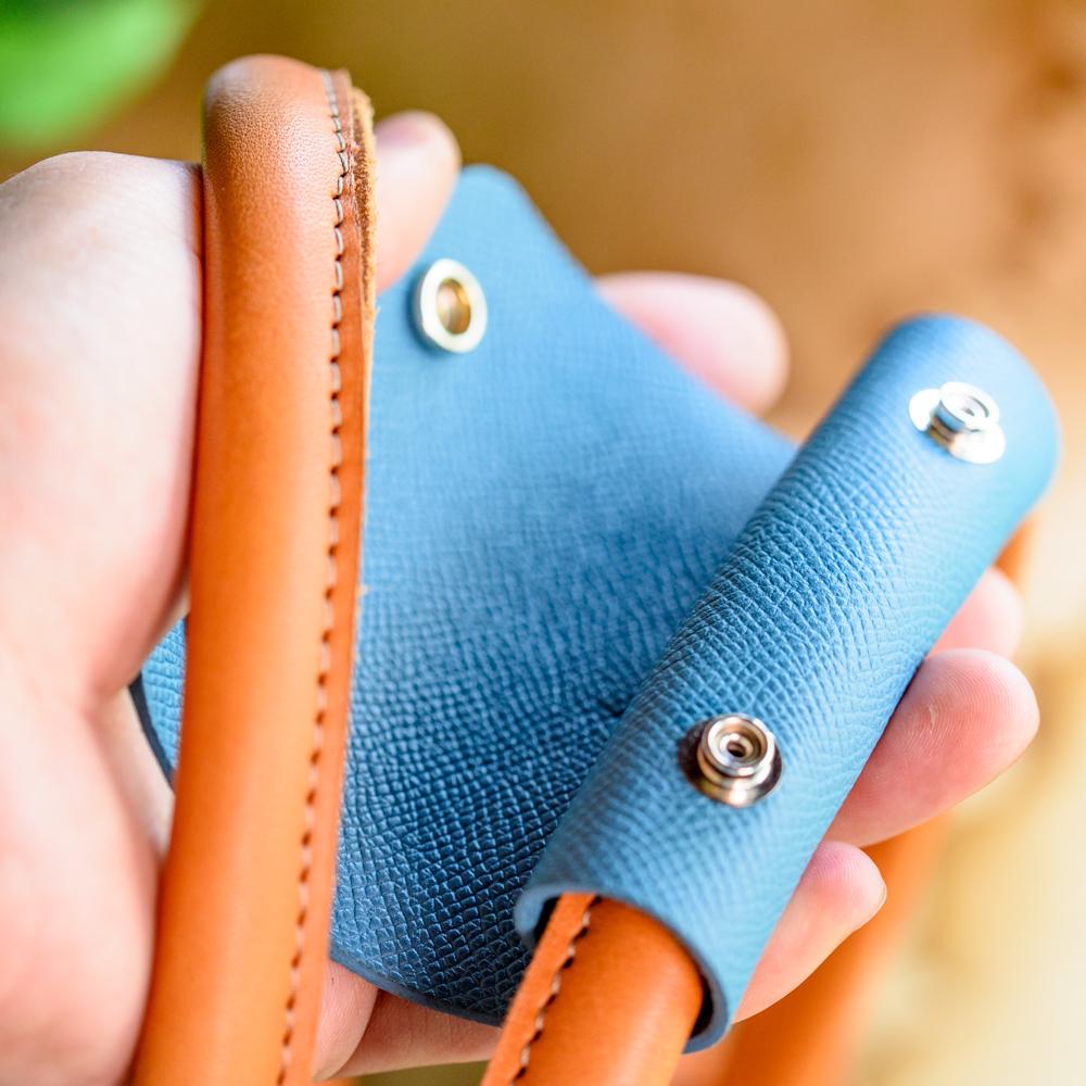 """""""lap-WH"""" 上質なカーフ使用のバッググリップ 【M ハンドル周囲40mm用】布バッグなどに"""