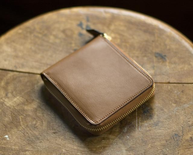 〔オーダーメイドギャラリー〕ラウンドファスナー二つ折り財布 限定イタリア製カーフ ボックス小銭入れ