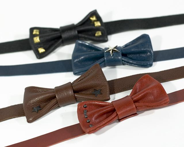 """Bow-tie """"studs"""" レザー蝶ネクタイ スタッズ"""