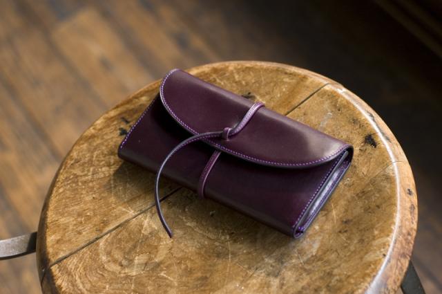 """革ひも長財布 オランダ原産カーフ""""PRIMO""""使用 手縫いミシン縫い併用"""