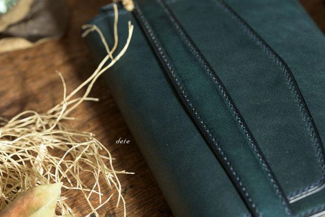 変形A5 特注ブックカバー手縫い エルバマット しおり付きフラップタイプ