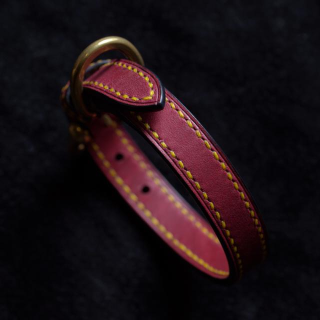 〔オーダーメイドギャラリー〕犬の首輪 イタリア製ヌメ革 パープル 手縫い