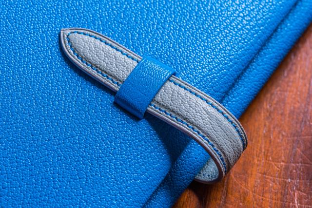四六判ブックカバー アルラン社フレンチゴート(山羊革)製 ブルー×グレー