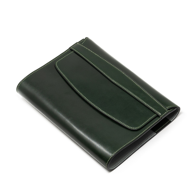 四六判ブックカバー手縫いフラップタイプ オランダ産カーフPRIMO×アルランシュリーグレー 〔受注生産〕