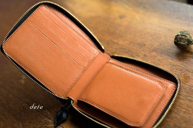 ラウンドファスナー二つ折り財布 ボックス小銭入れ イタリア製牛革×山羊革 (受注生産)