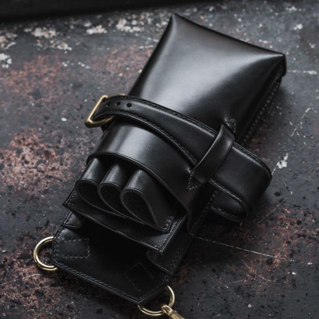 〔オーダーメイドギャラリー〕シザーケース【S06-3 トリマー収納用】3丁用 手縫いモデル