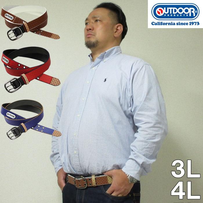 大きいサイズ メンズ 定番 OUTDOOR PRODUCTS-ブロック チェック ストレッチ ベルト(メーカー取寄)合成皮革 ウェスト140cmまで適応 ウェスト150cmまで適応