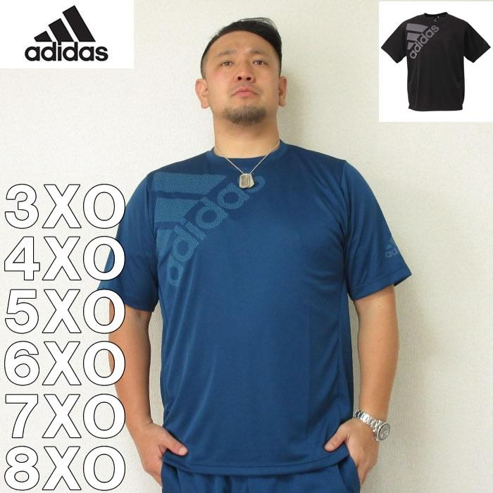 (4/30迄送料値下げ中)adidas-ビッグロゴ半袖Tシャツ(メーカー取寄)3XO 4XO 5XO 6XO 7XO 8XO アディダス スポーツ ジョギング ドライ 半袖 Tシャツ